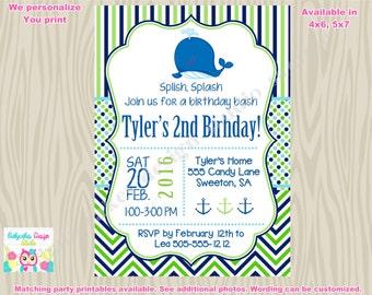 Whale Birthday Invitation invite, whale invite, whale 1st birthday party boy whale splish splash pool party splash pad printable invitation