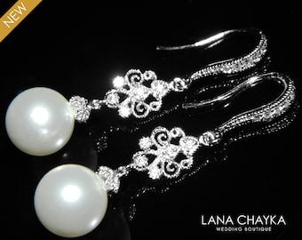 White Pearl Chandelier Bridal Earrings Swarovski 10mm Pearl Silver Dangle Earrings White Pearl Wedding Jewelry Bridal Pearl Drop Earrings