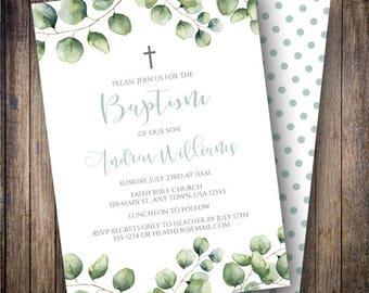 Baptism Invitation Boy, Eucalyptus Baptism Invite, Eucalyptus Invite, Gender Neutral Invite, Eucalyptus Leaves, Green, Teal, 715