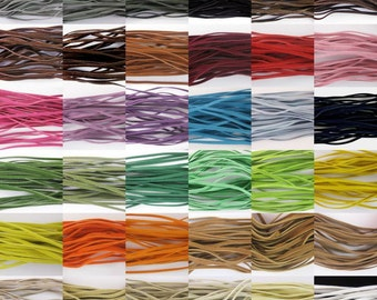 1 Roll/100 yds-Faux Suede  Cord Leather Flat  3x1.5mm- Choose your color.