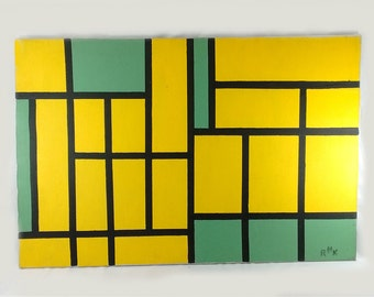 """Vintage Mid Century Modern Yellow Green Geometric Abstract Stacked Boxes Bricks Original Signed """"RMK"""" Acrylic Painting On Canvas"""
