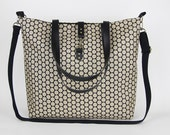 LARGE, Waterproof jacquard,  beige polka dot tote / diaper bag / shoulder bag / handbag with detachable strap  Design by BagyBags