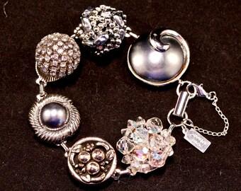 Reclaimed Vintage Earring Bracelet, Gift for Her, Bridesmaid gift set, Cluster, Grey, Gray, Silver, Crystal, Rhinestone, Jennifer Jones OOAK