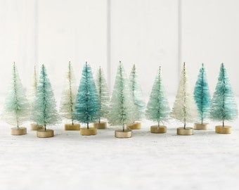 Minty Bottle Brush Trees - One Dozen Bleached 3 Inch Miniature Sisal Trees