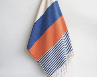 SALE 50 OFF/ Turkish Beach Bath Towel / Classic Peshtemal / Blue Orange / Wedding Gift, Spa, Swim, Pool Towels and Pareo