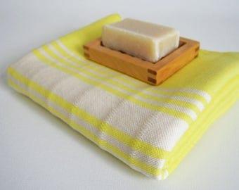 SALE 50 OFF/ Turkish Beach Bath Towel Peshtemal / No16 Fluorescent yellow color / Bath, Beach, Spa, Swim, Pool Towels
