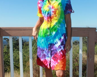 Tie Dye Upcycled Charter Club Button Up Dress Size 8