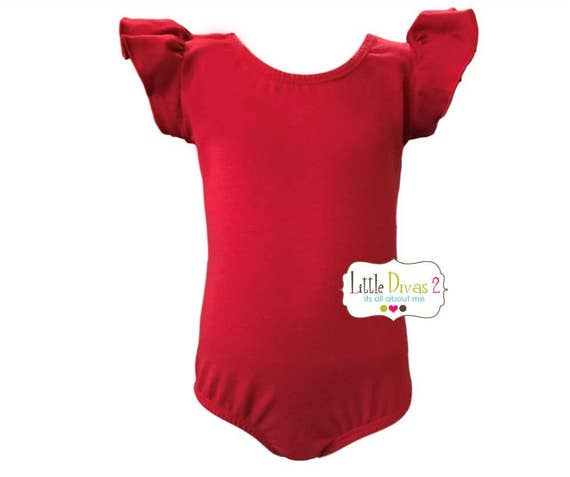 RED LEOTARD (Child) Flutter/Ruffle Sleeve Leotard-Dance-Ballet-Hip Hop-Gymnastics