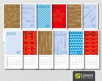 4 Elements Digital Calendar 2017,  Printable Calendar, 2017 Calendar, Fire, Water, Air, Earth, Desk Calendar, Monthly Calendar, Calendar Tag