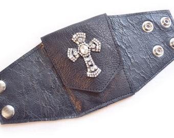 Leather | Wrist | Cuff | Wallet | Wrist Wallet | Black | Rhinestone Cross