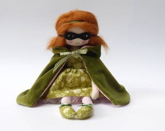 cloth doll, art doll, masque doll, mysterious girl, doll in green cloak, unique gift, gifts for her, mother's day gift