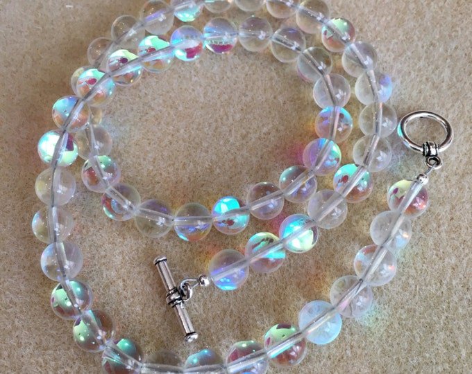 Clear Aqua Angel Aura Mystic Crystal Glass 8mm Bead Necklace with Toggle Clasp
