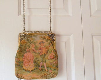 Vintage Tapestry bag with long Chain
