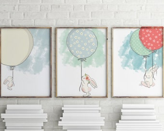 Bunny Prints | |Rabbit Prints | Balloon Prints| wall art | rabbit wall art | Set of 3