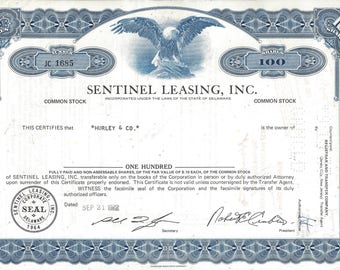 Vintage Sentinel Leasing, Inc. Original Common Stock Certificate (blue), 1970s