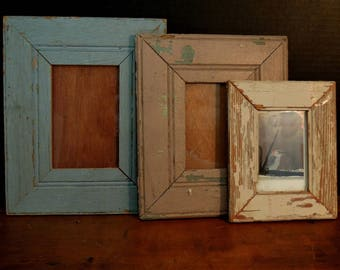 Three Wood Frames / Wainscoting Wood Picture Frames / Up Cycled Wainscoting into Wood Frames / Antique Wood Photo Frames