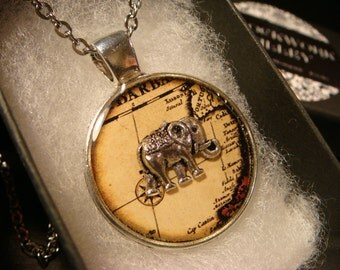 Elephant over Vintage Map Pendant Necklace (2357)
