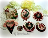 Bo Bunny Love and Lace Handmade Valentine's Paper Hearts and Paper Embellishments for Scrapbooking Cards Mini Albums Tags Paper Crafts