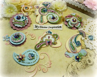Handmade Paper Pailey, Paper Embellishments and Paper Flowers for Scrapbooking Cards Mini Albums Tags and Papercrafts
