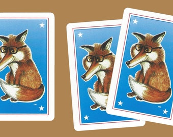 FOXY READER (3) Single Swap Playing Cards Paper Ephemera Scrapbook