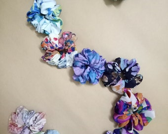 12 Satin Multi color Floral Pattern Hair Scrunchies fancy hair scrunchie Adult Hair Bows Gentle Hair Care bridesmaid gift set pure mulberry