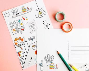 Postcard Creative Studio - greeting card A5   cute postcard, mini print, cute stationery, illustration, sleeping cat, craft room wall art