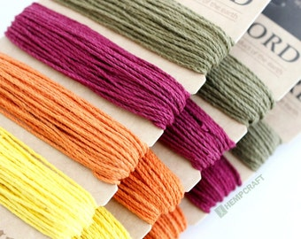 Hemp Cord, Fall Leaves Color Card, 1mm, Four Colors