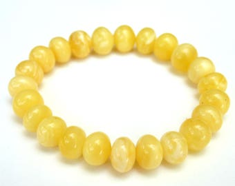 "Baltic Amber Bracelet Butterscotch Natural Milky Untreated 10 mm 7.5"" 11.5 gram"