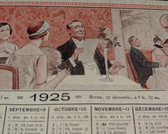 Sweet antique French calendar card for 1925 Double sided 1920s dining scenes BELLE BROCANTE