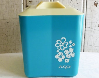 Vintage Turquoise Plastic Canister - Flowers - Sugar Canister - Dark Turquoise and White - Mid-Century 1960s - Kitchen Storage - Camper
