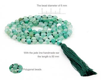 6mm Frosty  Faceted Mint Green Agate Knotted 108 Rosary Beaded Buddhist Prayer Beads Japa Mala  ZZ281