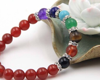 8mm 7 Chakras Yoga Energy And 14Pieces Red Agate Beads Stretch Bracelet  T3348