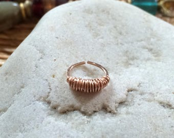 Rose Gold Cartilage Hoop Nose Ring Septum Helix Tragus Piercing Sleeper Earring Wire Jewelry Gold Fill Sterling Silver Rose Gold Fill