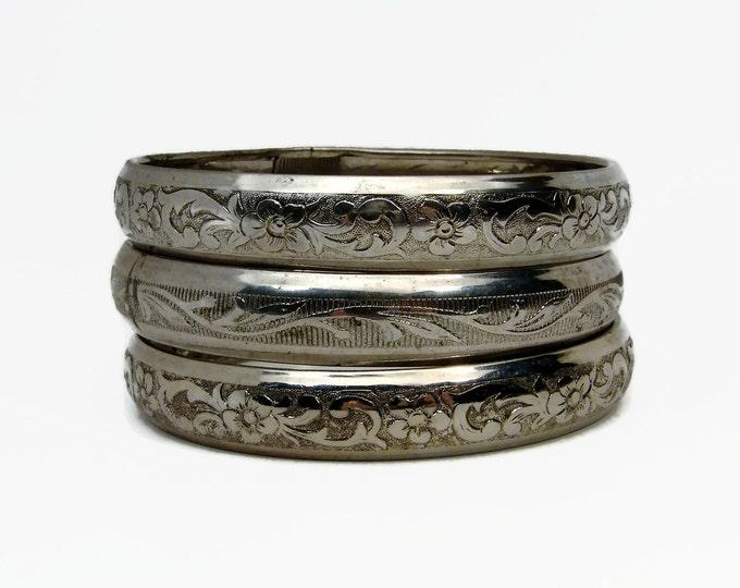 Vintage Etched Silver Tone Bangle Lot, Flower Bracelet, Vintage Jewelry, Stackable Bracelets, Bangle Lot, Vintage Bracelet