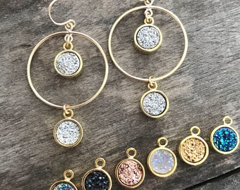 Druzy Earrings, Druzy Hoops, Hoop Earrings, Druzy Quartz Earrings, Chandelier Earrings, Gold Sparkle Earrings