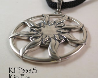 Sun Dance Pendant - round 1 7/8 inch two sided pendant with large bail in silver by Kim Fox