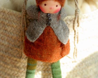 "Waldorf doll, Knitted doll Solveig 13"", rag doll, OOAK, handmade doll by Peperuda dolls, soft doll"