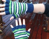 Half finger gloves, blue green and white stripes, adult size small/medium, vegan