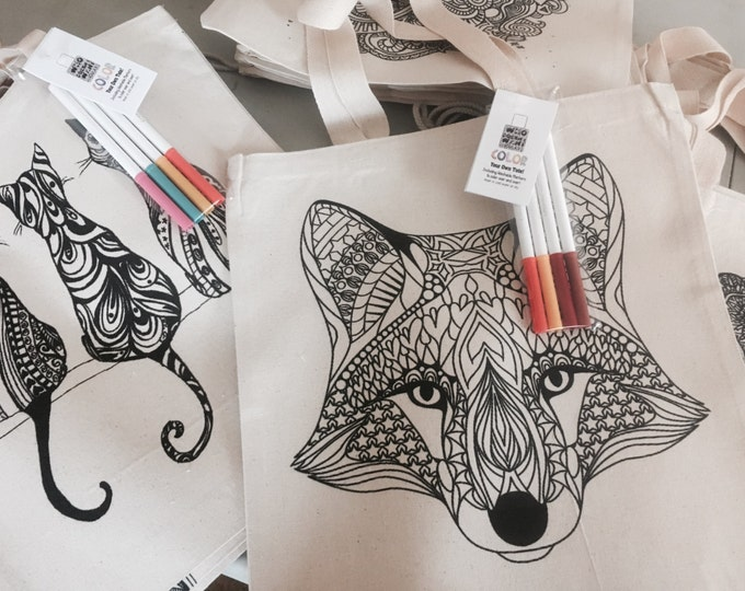 Color yourself Tote Bag, DIY Coloring book bag, Personalize no charge Christmas Gift
