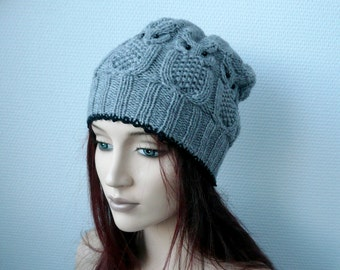 Owl Hat // Cable Knit Hat //  Winter Fashion Accessories Active/Hand knit hat
