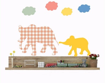 Elephant Wall Decals, Cloud decals, Elephant decor, Nursery Wall decals, Nursery Decor, Animal Wall decals, Safari Animals, Gift for Kids