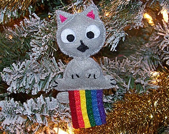 Cat farting rainbow felt Christmas ornament, tree ornament, novelty ornament - Clearance