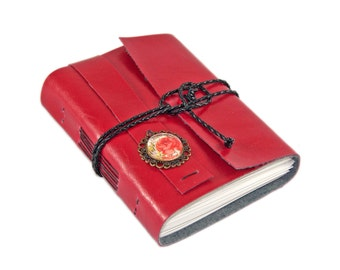 Red Faux Leather Journal with Blank Paper and Rose Cameo, Ready to Ship
