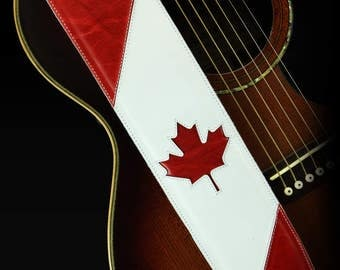 Leather Guitar Strap, Canadian Guitar Strap:  Maple Leaf Guitar Strap