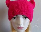 SALE ** Pink Pussy Hat Crochet Pussycat Hat Women's Rights Hat Pink Cat Hat Women's March Hat Pink Pussyhat Pussy Cat Hat Feminist Hat Black
