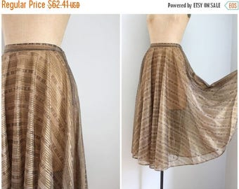SPRING SALE sheer metallic gold circle skirt - gold lurex skirt / striped lurex circle skirt - 70s does 50s full skirt / metallic skirt - lu