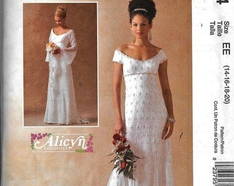 McCall's M4714 Evening Bridal Wedding Dress Gown Gothic Sewing Pattern UNCUT 4714 Size 14, 16, 18, 20