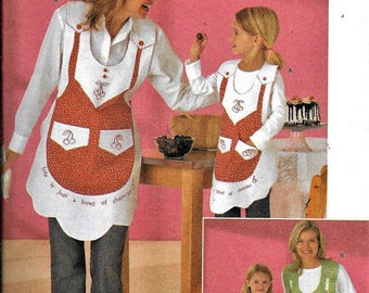 Sew & Make Simplicity 4344 Mother Daughter MATCHING COOK APRONS Sewing Pattern