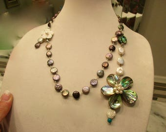 Mega Great ABALONE, Baroque PEARL, MOP Multi-Pendant Peacock Pearl Rosary Chain Necklace w/Mother Of Pearl Carved Floral Clasp