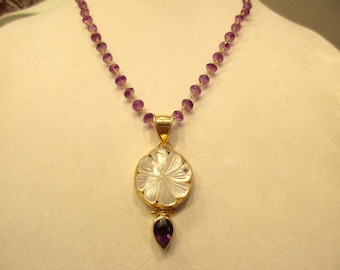 Mother of PEARL Etched Flower, AMETHYST Teardrop, Vermeil Pendant on AMETHYST Rosary Chain w/Amethyst-Gold Hand-Painted Czech Button Clasp